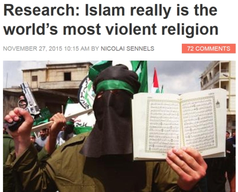 Research Shows Islam is the Most Violent Religion